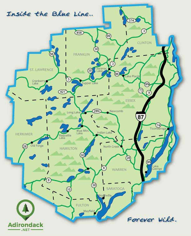 Map of the Adirondack Park