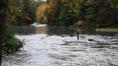 Man fly fishing on Indian River during the fall