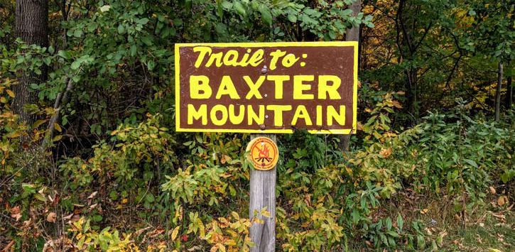trailhead sign to Baxter Mountain