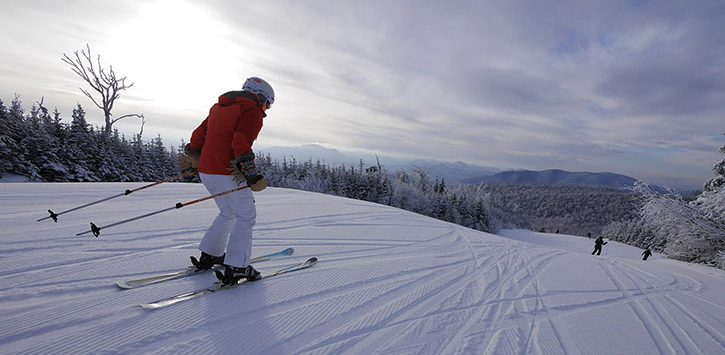 skier in a red jacket