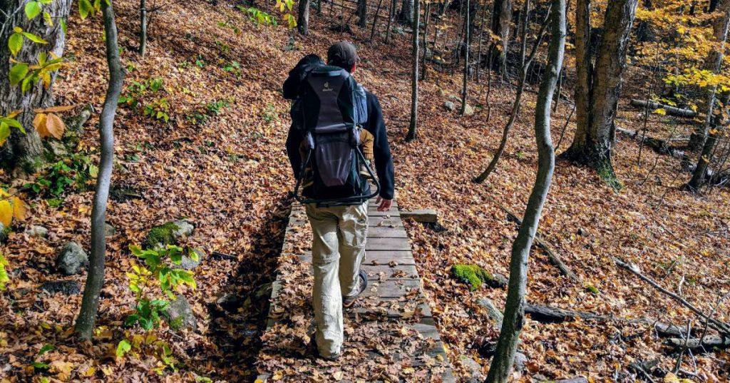 hiker on a wooden bridge