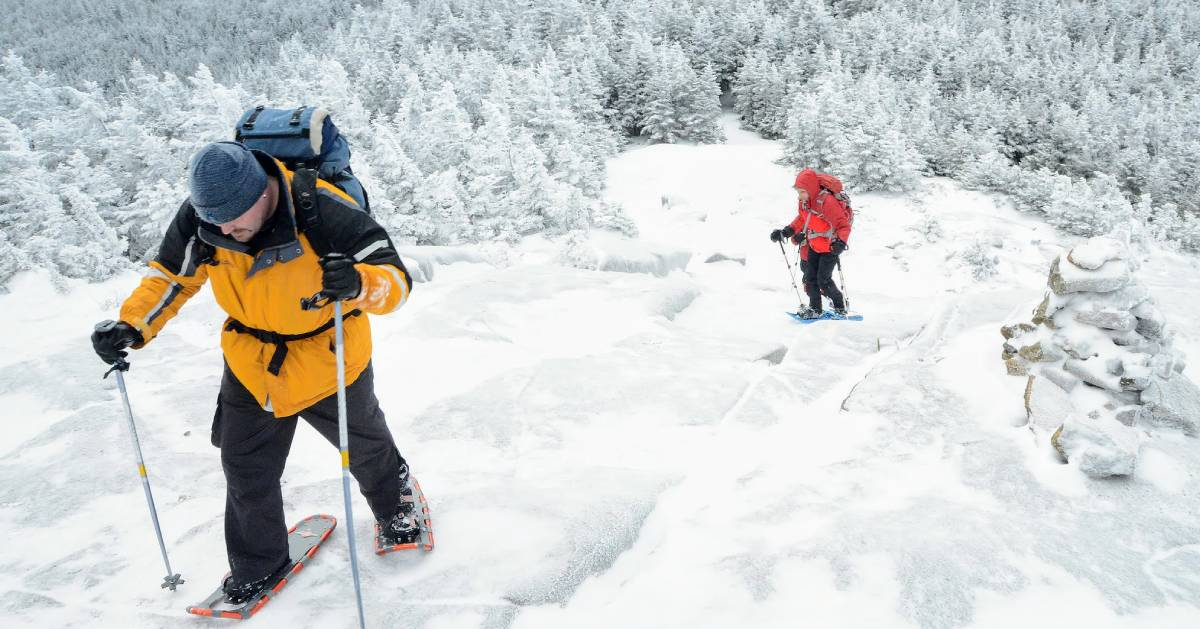 snowshoers going up a mountain