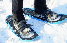 close up of blue snowshoes