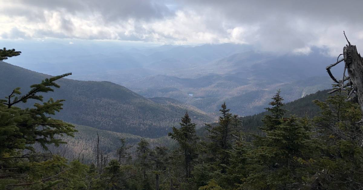 view of mountain range from overlook