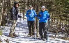 three snowshowers