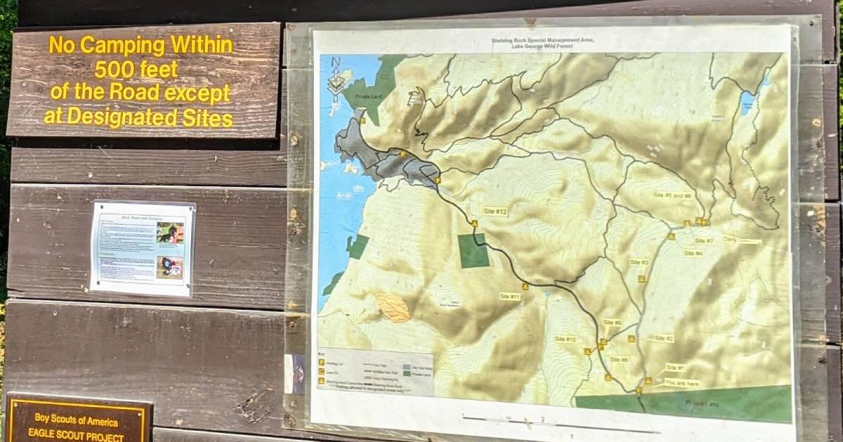map on trailhead sign