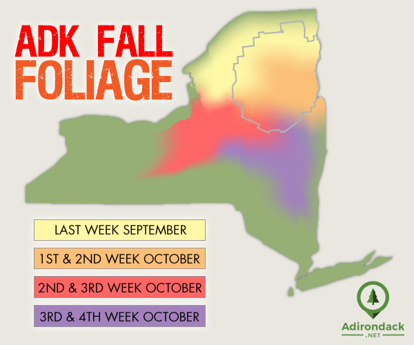 Adirondack fall foliage peak map
