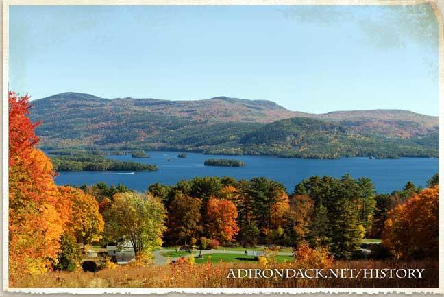 adirondack lake with fall foliage