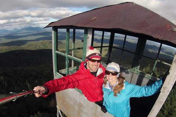 couple selfie on a fire tower