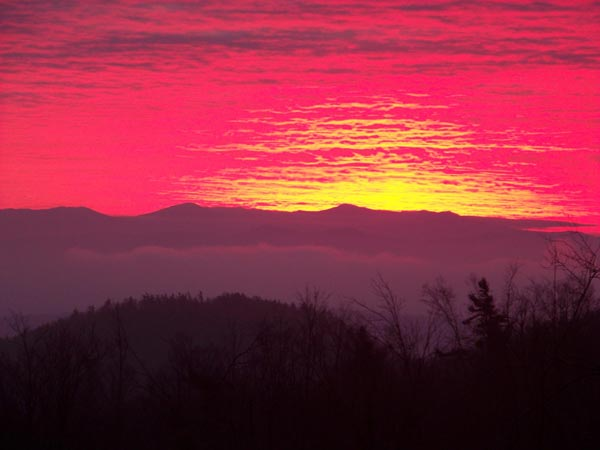 Red sunset over a mountain ridge