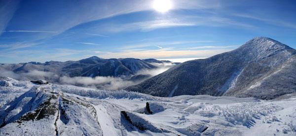 Wright peak summit in winter