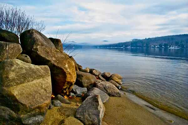 Rocks on the shore of a lake