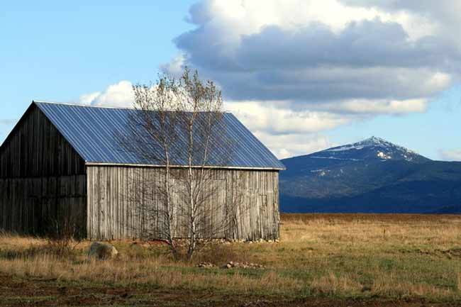Old barn with Whiteface Mountain in the background