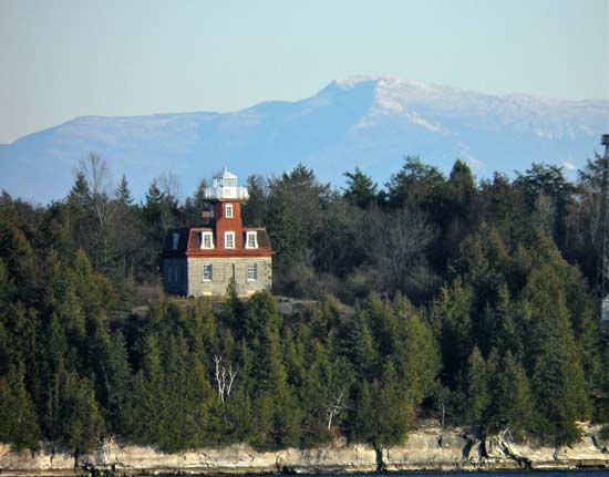 lighthouse tucked amongst evergreen trees