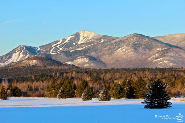 Whiteface Mountain from a field during the winter
