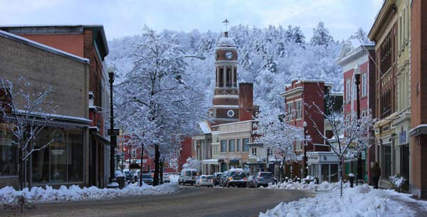 A snowy view of downtown Saranac Lake