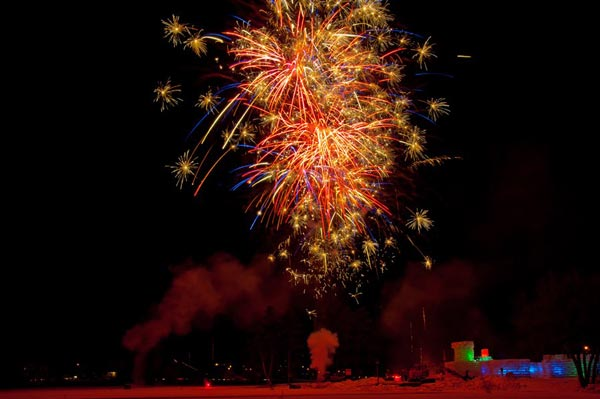 fireworks over the Saranac Lake Ice palace