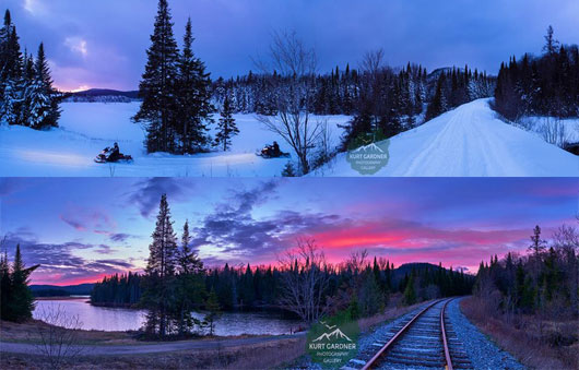 side by side photos of train tracks