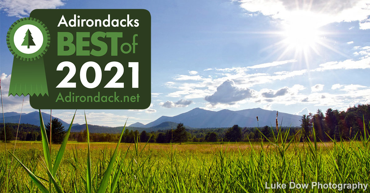 field with adirondack mountains in the background and best of badge