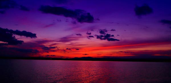 red and purple sunset over Lake Champlain