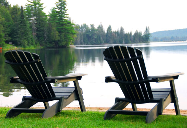 adirondack chairs by water