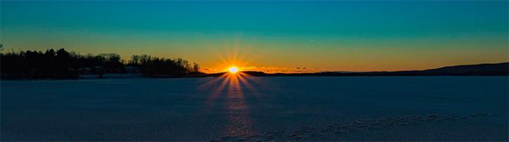 sunset over great sacandaga lake in winter