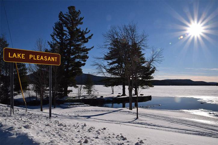 sun shining on lake pleasant in winter
