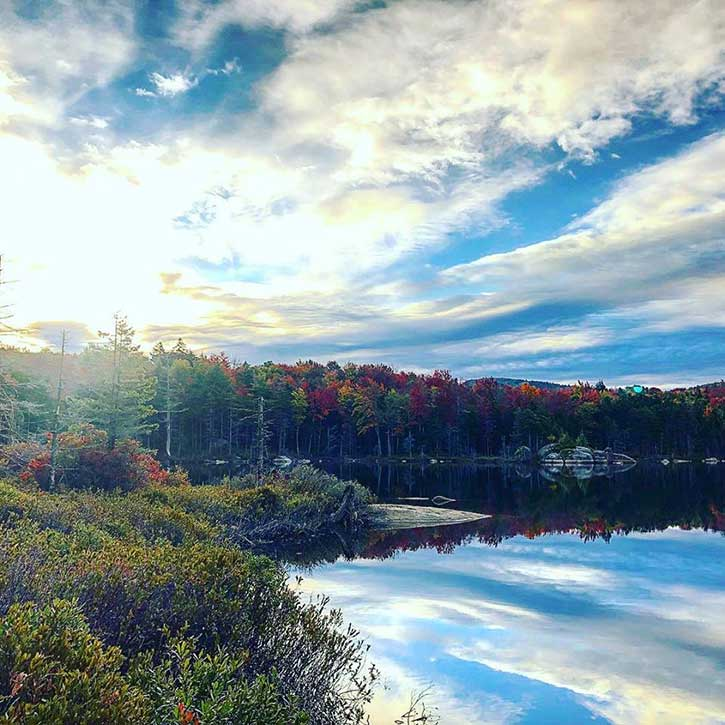 fall at a remote pond in the adirondacks