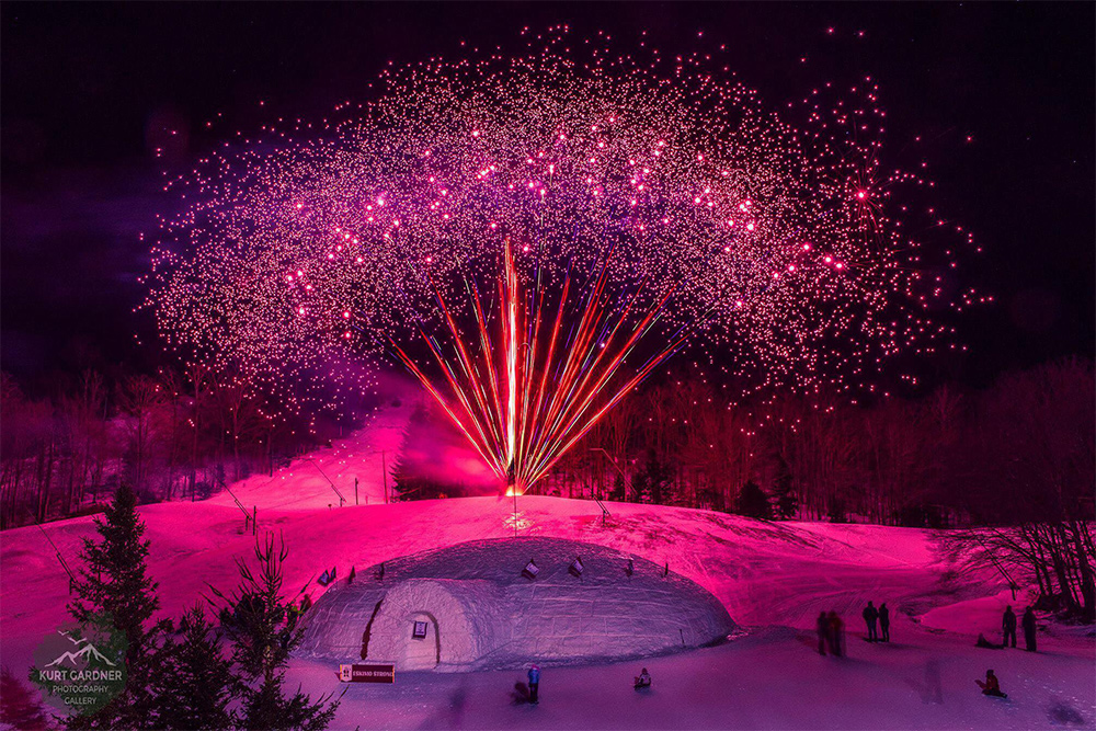 fireworks at a winter carnival