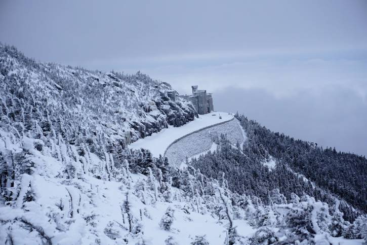 Grey castle on snowy mountain surrounded by trees