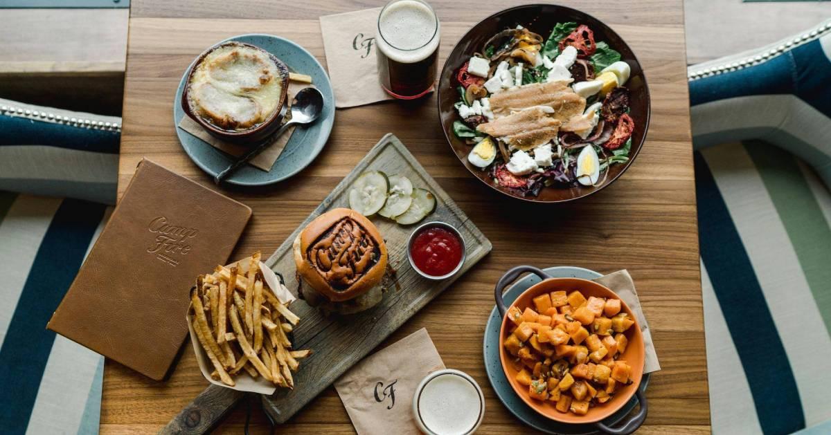 restaurant food, burger, salad, on table