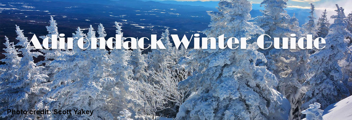 a snowy landscape with text saying Adirondack Winter Guide
