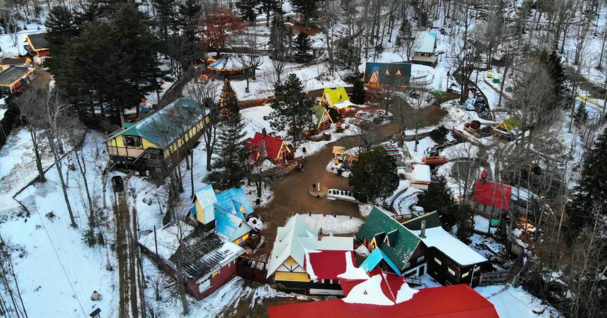 aerial view of Santa's village