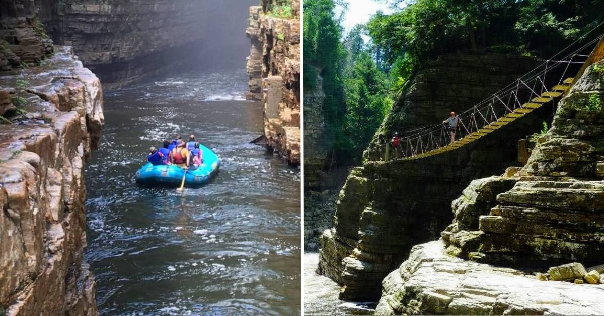 split image of people rafting and people walking over bridge over water