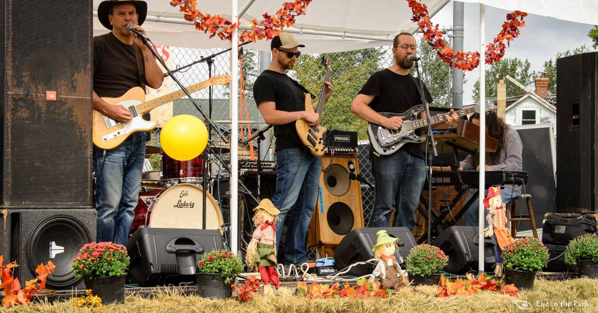 band on stage during fall festival