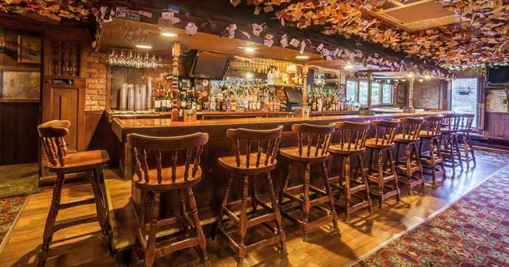 a large rustic bar room