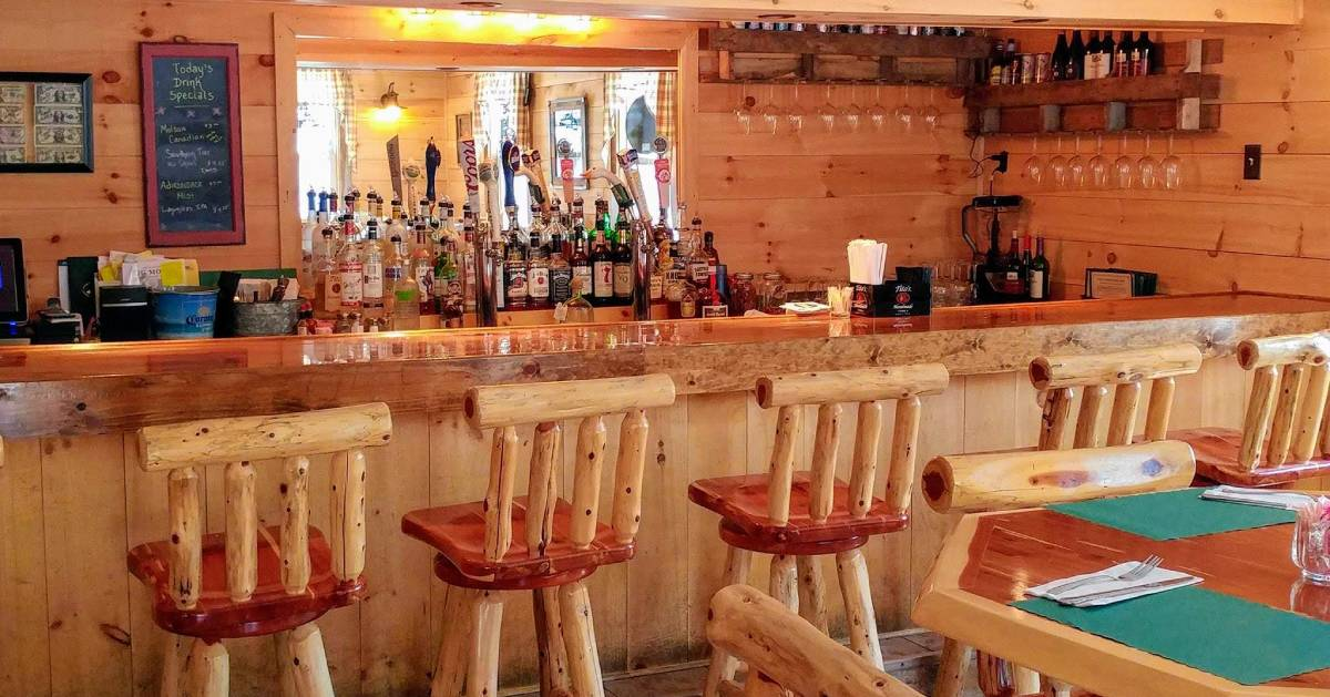 bar area with wooden panels