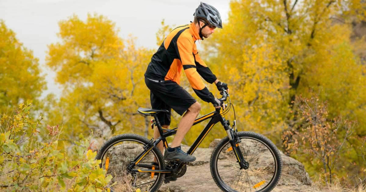 biker on mountain in the fall