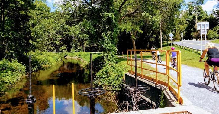 biking on warren county bike path