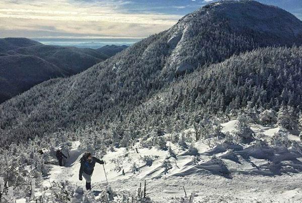 hiking mt colden in winter