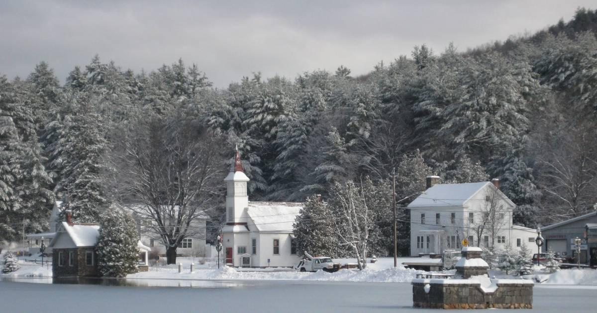 frozen lake in winter scene