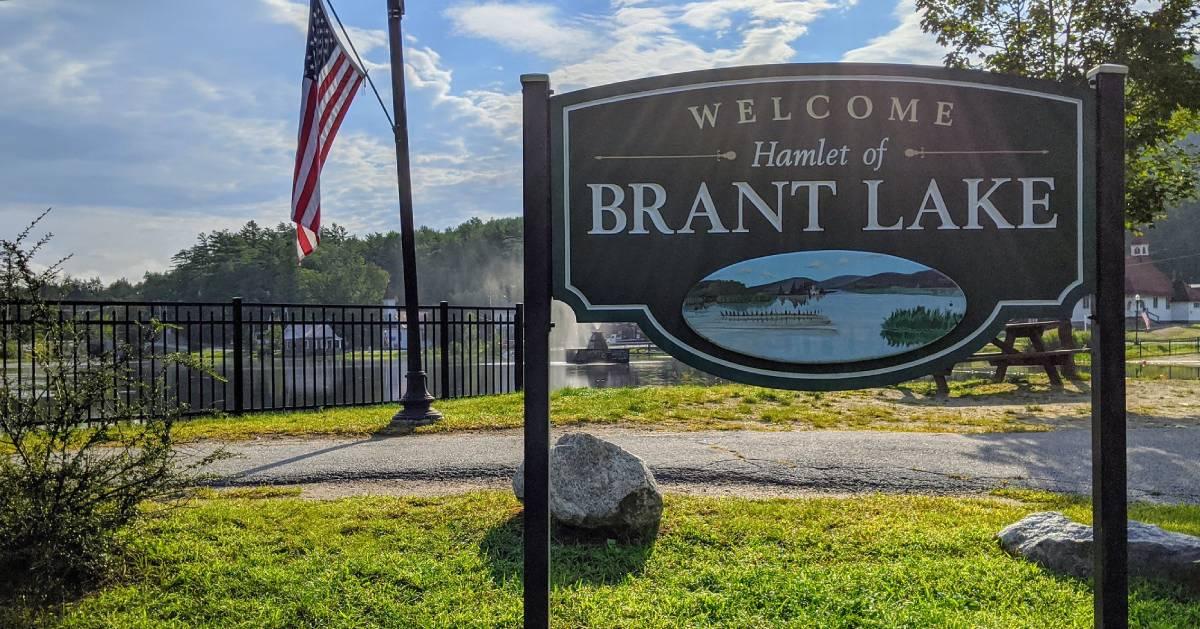 Brant Lake sign by lake