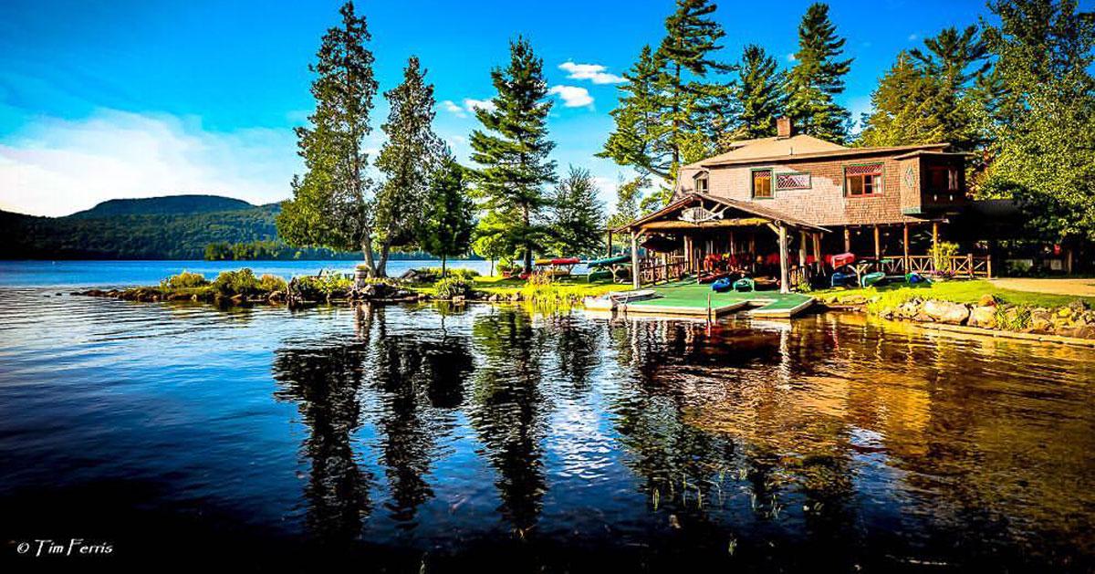 a camp by a lake