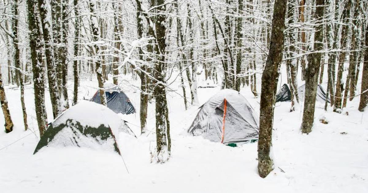 camping tents in the winter