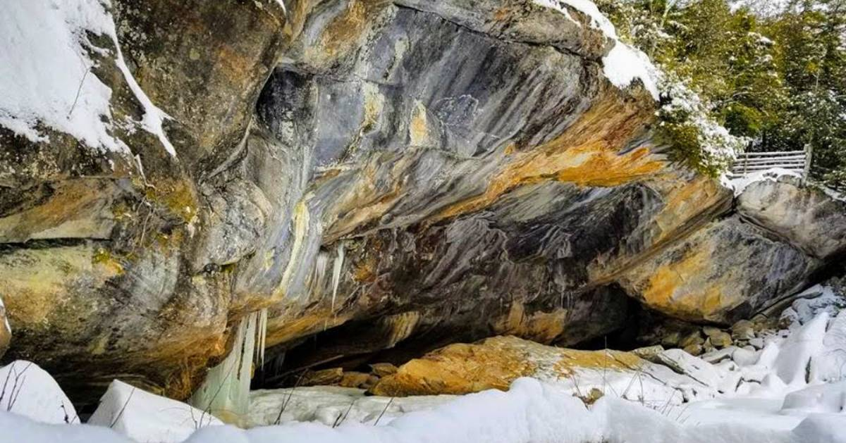 cave entrance in winter