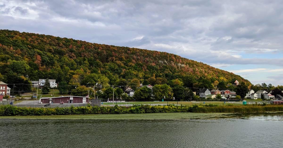 canal by fall foliage