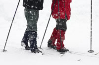 Couple Cross Country Skiing Together