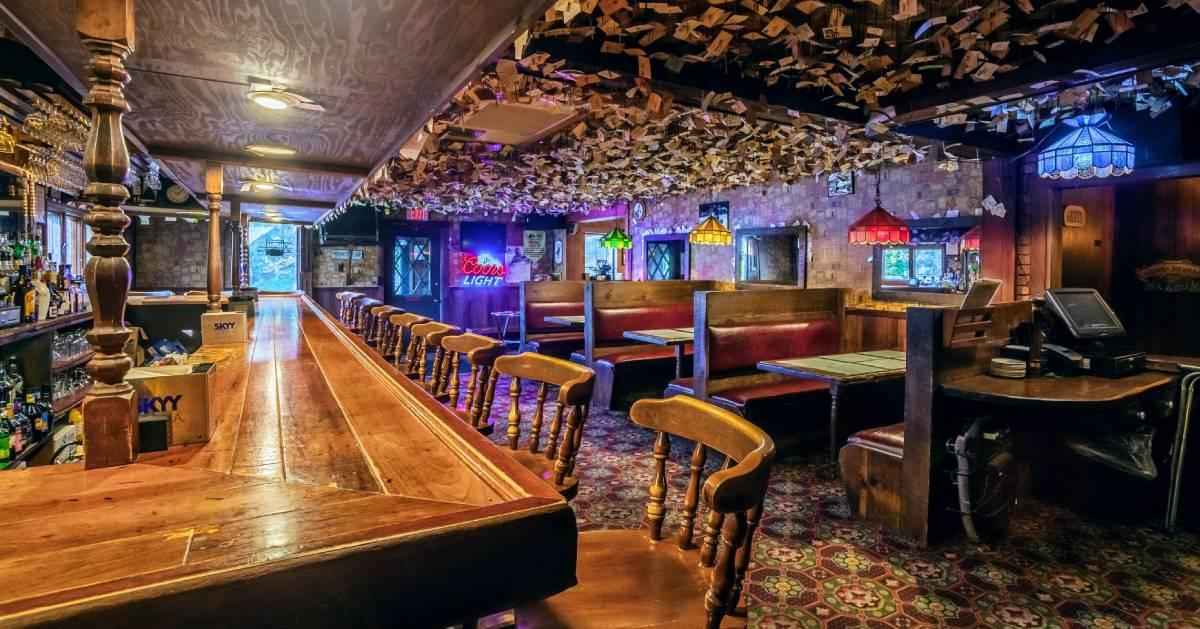 a large rustic bar room