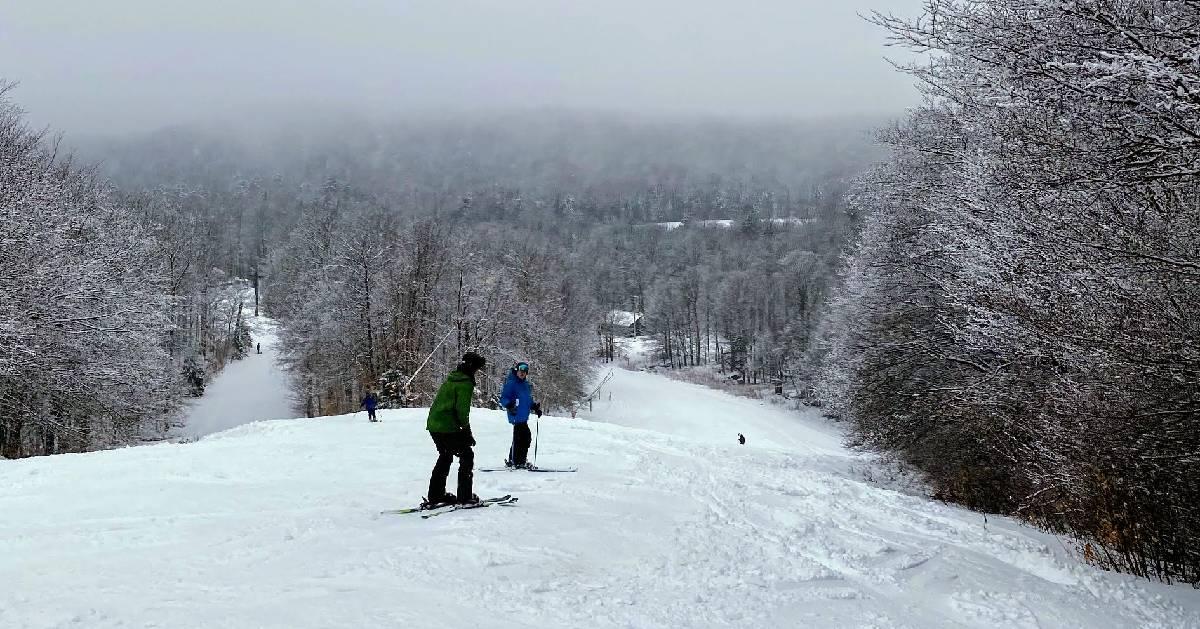 people downhill skiing