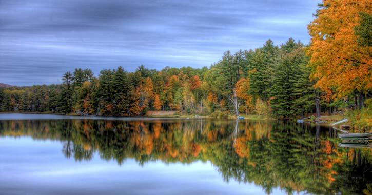 beautiful fall landscape lake